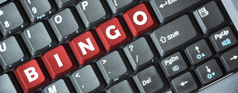"""Keyboard with red keys spelling """"bingo"""""""