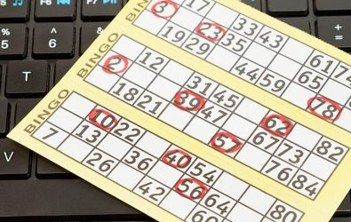 Bingo card on a keyboard