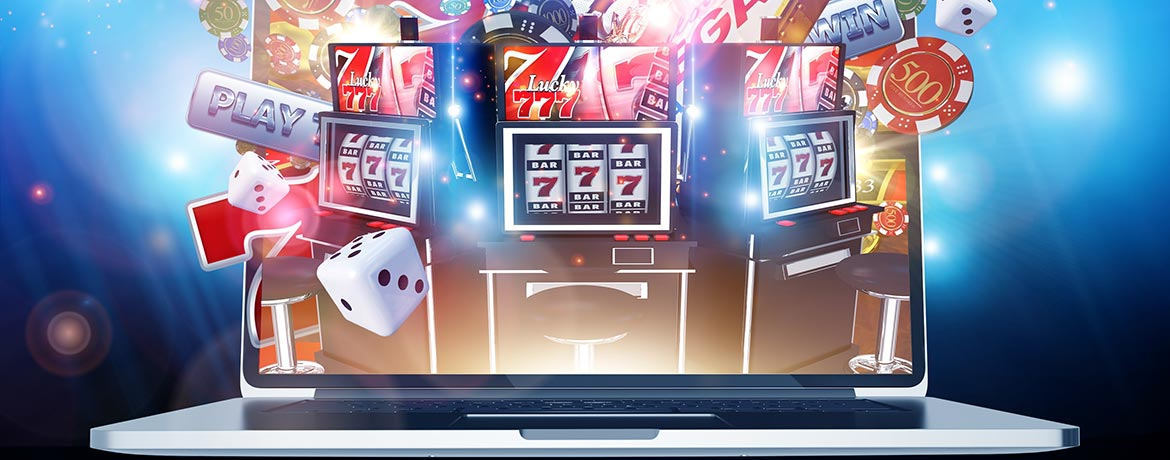 Graphic showing slot machine imagery coming out of a laptop