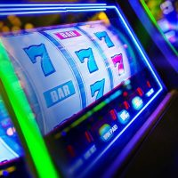 Slot machines with bright lights